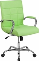 Mid-Back Green Vinyl Executive Swivel Chair with Chrome Base and Arms [GO-2240-GN-GG]