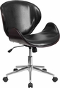 Mid-Back Mahogany Wood Swivel Conference Chair in Black Leather [SD-SDM-2240-5-MAH-BK-GG]