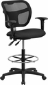 Mid-Back Black Mesh Drafting Chair with Adjustable Arms [WL-A7671SYG-BK-AD-GG]