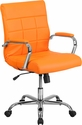 Mid-Back Orange Vinyl Executive Swivel Chair with Chrome Base and Arms [GO-2240-ORG-GG]