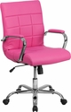 Mid-Back Pink Vinyl Executive Swivel Chair with Chrome Base and Arms [GO-2240-PK-GG]