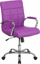 Mid-Back Purple Vinyl Executive Swivel Chair with Chrome Base and Arms [GO-2240-PUR-GG]