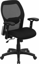 Mid-Back Black Super Mesh Executive Swivel Chair with Adjustable Arms [LF-W42B-GG]