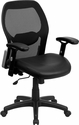 Mid-Back Black Super Mesh Executive Swivel Chair with Leather Seat and Adjustable Arms [LF-W42B-L-GG]