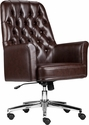 Mid-Back Traditional Tufted Brown Leather Executive Swivel Chair with Arms [BT-444-MID-BN-GG]