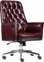 Mid-Back Traditional Tufted Burgundy Leather Executive Swivel Chair with Arms [BT-444-MID-BY-GG]