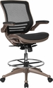 Mid-Back Transparent Black Mesh Drafting Chair with Melrose Gold Frame and Flip-Up Arms [BL-LB-8801X-D-GG]