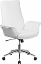 Mid-Back White Leather Executive Swivel Chair with Flared Arms [BT-88-MID-WH-GG]
