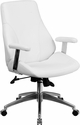 Mid-Back White Leather Executive Swivel Chair with Arms [BT-90068M-WH-GG]