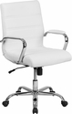 Mid-Back White Leather Executive Swivel Chair with Chrome Base and Arms [GO-2286M-WH-GG]