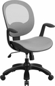 Mid-Back Transparent White Mesh Swivel Task Chair with Seat Slider,Ratchet Back and Arms [CS-YAPI-WH-GG]