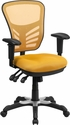 Mid-Back Yellow-Orange Mesh Multifunction Executive Swivel Chair with Adjustable Arms [HL-0001-YEL-GG]