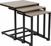 Midtown Collection Sonoma Oak Wood Grain Finish Nesting Tables with Black Metal Cantilever Base [NAN-JN-21741NT-GG]