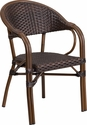 Milano Series Dark Brown Rattan Restaurant Patio Chair with Red Bamboo-Aluminum Frame [SDA-AD642003R-2-GG]