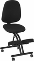 Mobile Ergonomic Kneeling Posture Chair with Back in Black Fabric [WL-1428-GG]