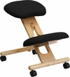 Mobile Wooden Ergonomic Kneeling Chair in Black Fabric [WL-SB-210-GG]