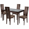 Montclair 5 Piece Espresso Wood Dining Table Set with Glass Top and Clean Line Wood Dining Chairs - Padded Seats [ES-91-GG]