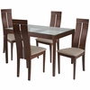 Montclair 5 Piece Walnut Wood Dining Table Set with Glass Top and Clean Line Wood Dining Chairs - Padded Seats [ES-105-GG]
