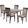 Montebello 5 Piece Espresso Wood Dining Table Set with Glass Top and Rail Back Wood Dining Chairs - Padded Seats [ES-153-GG]