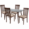 Montebello 5 Piece Walnut Wood Dining Table Set with Glass Top and Rail Back Wood Dining Chairs - Padded Seats [ES-167-GG]