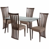 Monterey 5 Piece Espresso Wood Dining Table Set with Glass Top and Dramatic Rail Back Design Wood Dining Chairs - Padded Seats [ES-118-GG]