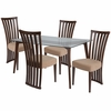 Monterey 5 Piece Walnut Wood Dining Table Set with Glass Top and Dramatic Rail Back Design Wood Dining Chairs - Padded Seats [ES-132-GG]