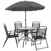 Nantucket 6 Piece Patio Garden Set with Table, Umbrella and 4 Folding Chairs [GM-202012-BK-GG]