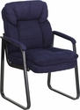Navy Microfiber Executive Side Reception Chair with Sled Base [GO-1156-NVY-GG]