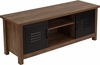 New Lancaster Collection Crosscut Oak Wood Grain Finish Storage Bench with Metal Cabinet Doors [NAN-JN-21736TR-GG]