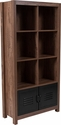 New Lancaster Collection Crosscut Oak Wood Grain Finish Storage Shelf with Metal Cabinet Doors [NAN-JN-21736BF-GG]