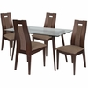 Newman 5 Piece Espresso Wood Dining Table Set with Glass Top and Curved Slat Wood Dining Chairs - Padded Seats [ES-143-GG]