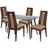 Newman 5 Piece Walnut Wood Dining Table Set with Glass Top and Curved Slat Wood Dining Chairs - Padded Seats [ES-157-GG]