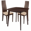 Newport 3 Piece Espresso Wood Dining Table Set with Padded Wood Dining Chairs [ES-64-GG]