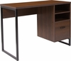 Northbrook Rustic Coffee Wood Grain Finish Computer Desk with Black Metal Frame [NAN-NJ-HD10168-GG]