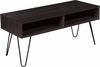 Oak Park Collection Driftwood Finish TV Stand with Black Metal Legs [NAN-TS096-GG]