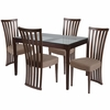 Oakdale 5 Piece Espresso Wood Dining Table Set with Glass Top and Dramatic Rail Back Design Wood Dining Chairs - Padded Seats [ES-90-GG]
