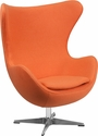 Orange Wool Fabric Egg Chair with Tilt-Lock Mechanism [ZB-17-GG]