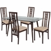 Orland 5 Piece Espresso Wood Dining Table Set with Glass Top and High Triple Window Pane Back Wood Dining Chairs - Padded Seats [ES-151-GG]