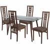 Orland 5 Piece Walnut Wood Dining Table Set with Glass Top and High Triple Window Pane Back Wood Dining Chairs - Padded Seats [ES-165-GG]
