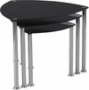 Pacific Heights Black Glass Nesting Tables with Stainless Steel Legs [HG-112439-GG]