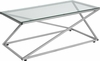 Park Avenue Collection Glass Coffee Table with Contemporary Steel Design [NAN-JH-1789-GG]