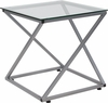 Park Avenue Collection Glass End Table with Contemporary Steel Design [NAN-JH-1737-GG]
