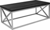 Park Ridge Black Coffee Table with Silver Finish Frame [NAN-CT1796-BK-GG]