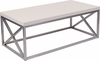 Park Ridge Cream Coffee Table with Silver Finish Frame [NAN-CT1796-GG]