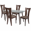 Parlier 5 Piece Espresso Wood Dining Table Set with Glass Top and Slotted Back Wood Dining Chairs - Padded Seats [ES-145-GG]