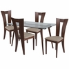 Parlier 5 Piece Walnut Wood Dining Table Set with Glass Top and Slotted Back Wood Dining Chairs - Padded Seats [ES-159-GG]