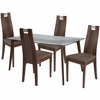 Patterson 5 Piece Walnut Wood Dining Table Set with Glass Top and Curved Slat Wood Dining Chairs - Padded Seats [ES-136-GG]