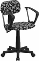 Peace Sign Printed Swivel Task Chair with Arms [BT-PEACE-A-GG]