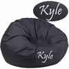 Personalized Oversized Solid Gray Bean Bag Chair [DG-BEAN-LARGE-SOLID-GY-TXTEMB-GG]