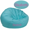 Personalized Oversized Solid Mint Green Bean Bag Chair [DG-BEAN-LARGE-SOLID-MTGN-TXTEMB-GG]